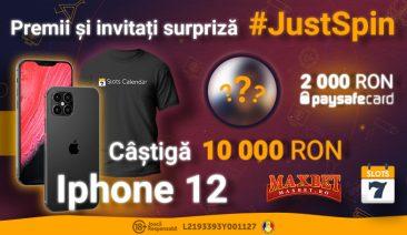 #JustSpin – Concurs Maxbet & SlotsCalendar cu Invitați Surpriză, 10.000 RON, iPhone12 și multe alte premii